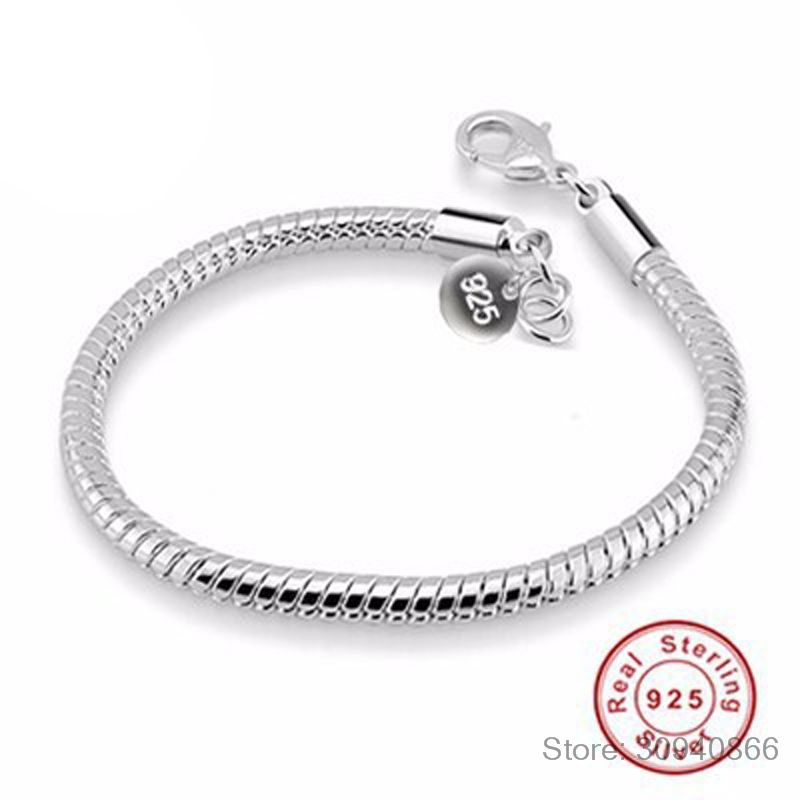 100% 925 Sterling Silver Bracelets Bangles For Women Fashion Silver Jewelry With S925 Stamp 3mm Snake Bone Bracelet YB001