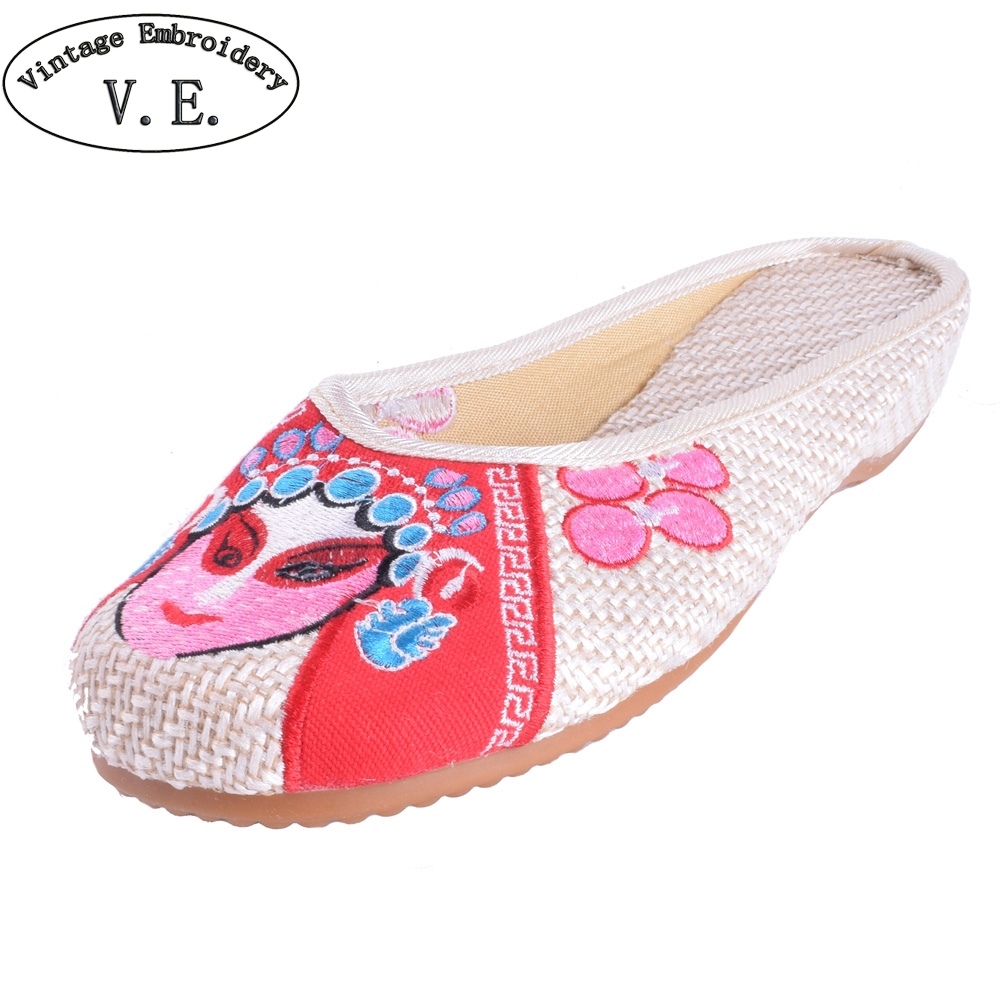 Chinese Vintage Women Slippers Casual Chinese Ethnic Old Peking Opera Embroidery National Cloth Simple Shoes Woman Sandals chinese style ethnic red blue flowers embroidery hat cap headgear women 2017 autumn winter vintage design skullies beanies