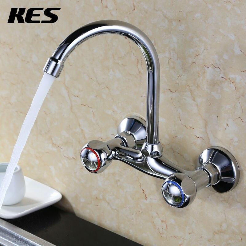 2018 Dual Holder Wall Mount Kitchen Faucet Kitchen Brass: Aliexpress.com : Buy KES L606B Double Handles Brass