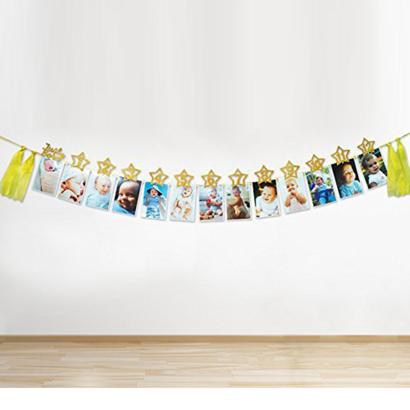 1 Set Just Born 12 Months Numbers DIY Photo Frame Banners Baby Shower Birthday Party Garlands Home BBQ Photo Props Decoration