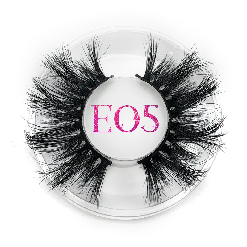 Mikiwi 25mm False Eyelashes E05 Thick Strip 25mm 3D Mink Lashes Crossing Makeup Dramatic Long 25MM Mink Lashes