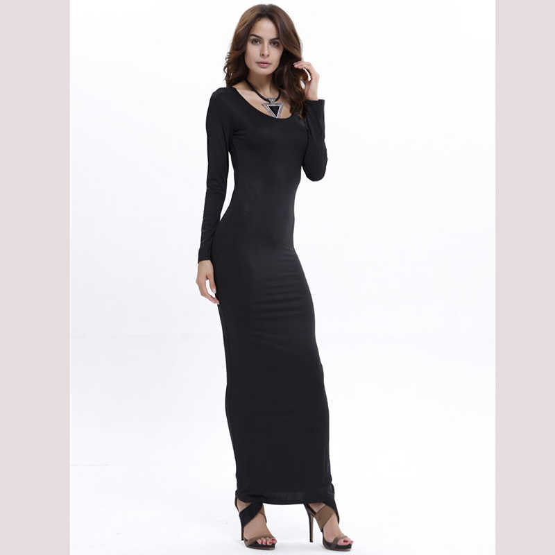 65c4b929187 ... Europe and America style sexy dress 2018 new fashion O neck full sleeve  12 color autumn ...