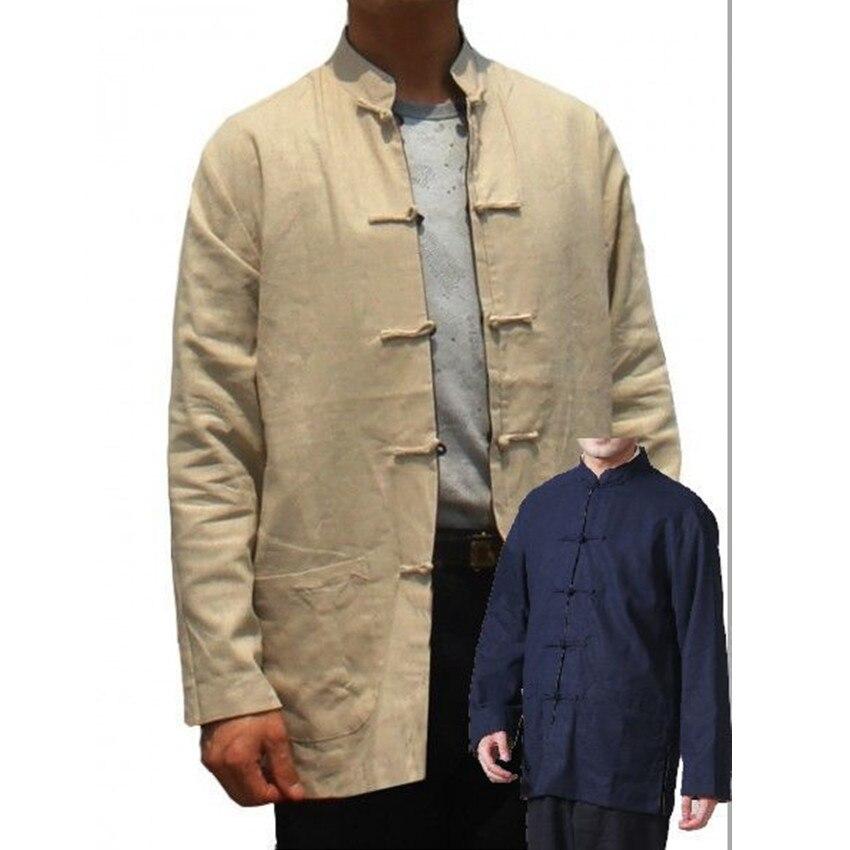 Beige-Navy Blue Reversible Men's Cotton Linen Two-Face Jacket Coat Long sleeve Tang Suit Size S M L XL XXL XXXL 2973-3#