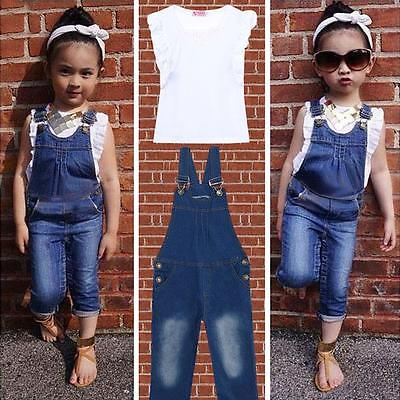 2016 Hot-Selling New Baby Girls Clothes Sets White Sleeveless Top T-Shirt+Denim Jeans overalls Bib 2Pcs/Suit white casual sleeveless hooded top