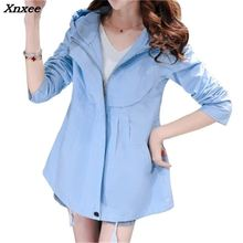 Fashion Plus Size Women Coat 2018 New Spring Autumn Hooded Short Trench Coat Casual Loose Thin Windbreaker Female Outerwear C136 women trench loose coat autumn winter outfit hooded casual long windbreaker trench coat female business outerwear plus size