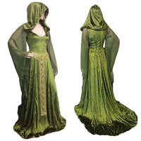 Medieval Renaissance Maxi Train Dress Adult Women Halloween Devil Pagan Witch Wedding Costume Hooded Gown Robe For Ladies Green
