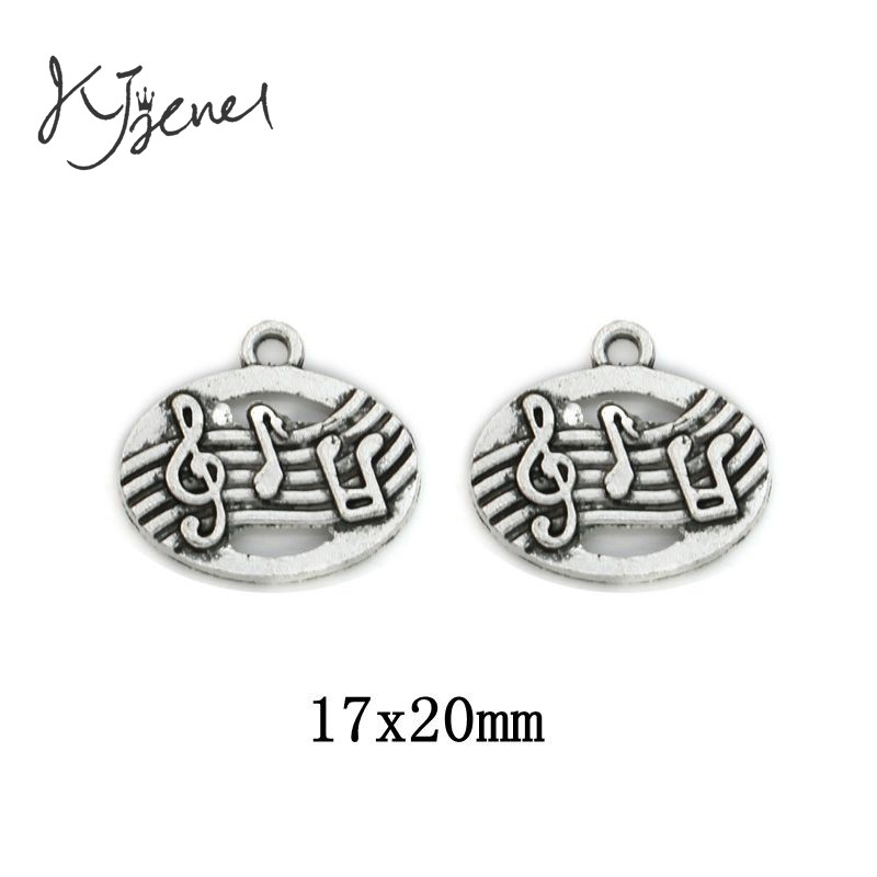 10pcs Antique Silver Plated Music Sign Charms Fashion Pendants Jewelry Diy Jewelry Making Handmade 17x20mm