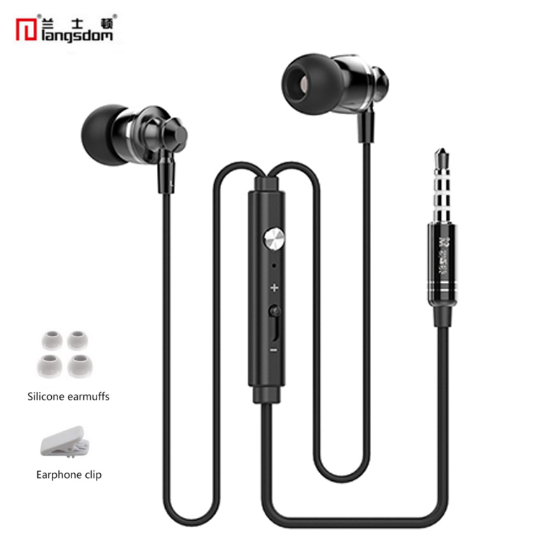 Original Langsdom M300 Metal Super Bass Earphone Volume Control with Microphone For iphone 6s xiaomi 5s Samsung Note 7 Earpod