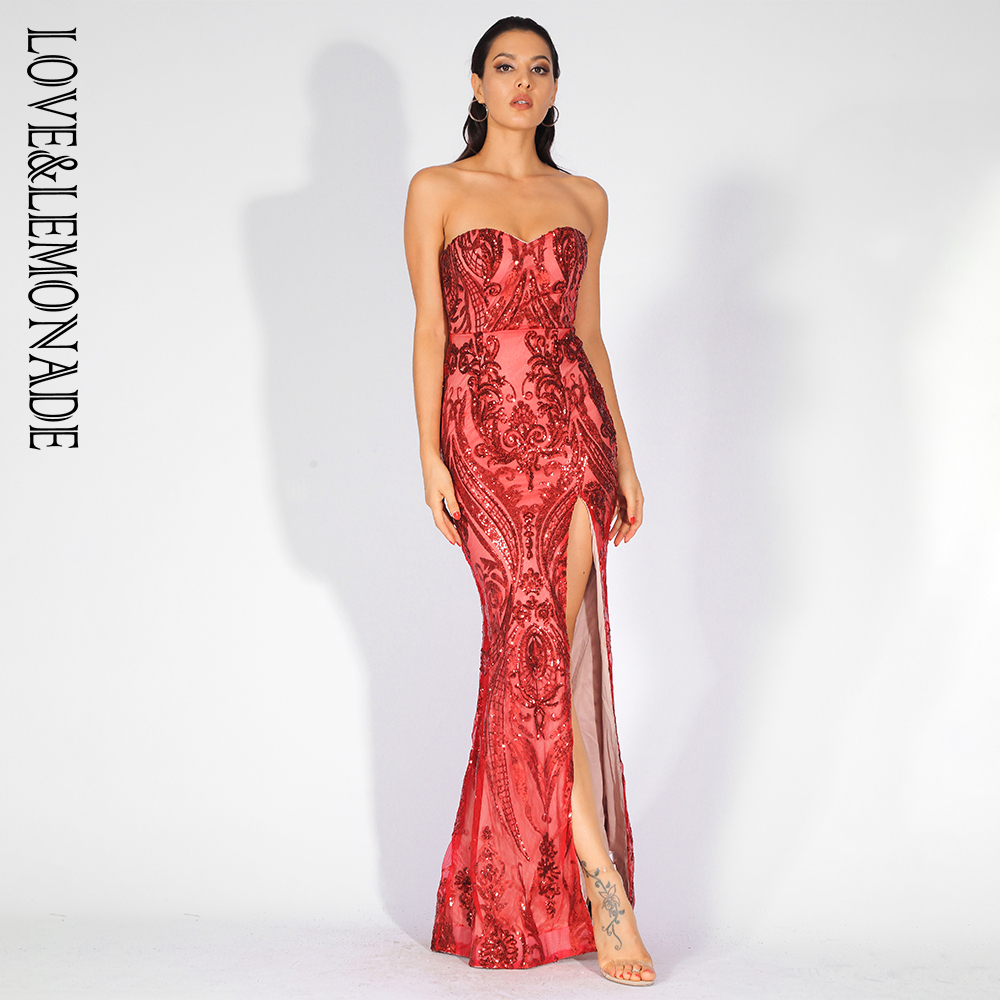 Love Lemonade Sexy Strapless Cut Out Geometric Pattern Sequins Bodycon Maxi Dress LM81342 2 RED