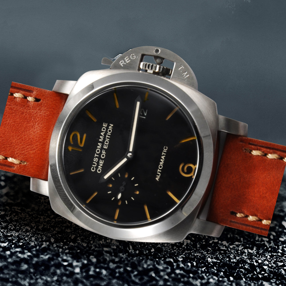 Bomax Marina Pam 42mm Black Dial Silver Steel Caseblack Dial Automatic Watch Leather Strap U1