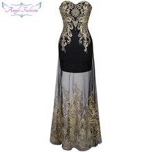 Angel-Fashion, винтажное, 1920-х, без бретелек, вышивка, прозрачная, на шнуровке, длинное вечернее платье, vestidos de noche, черное, 189