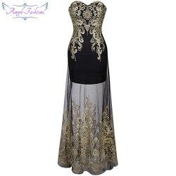 Angel-fashions 1920'S Strapless Bordado Do Vintage Ver Através Lace up Longo Vestido de Noite vestidos de noche Preto 189