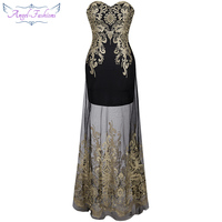 Strapless Embroidery See Through Vintage Lace Up Long Evening Dress Vestidos De Noche Black