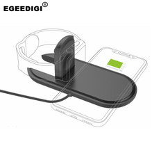 EGEEDIGI 10W 2 in 1 Wireless Fast Charging for Apple Watch iPhone 8 X Samsung Galaxy Phone Smart With Fold Charge