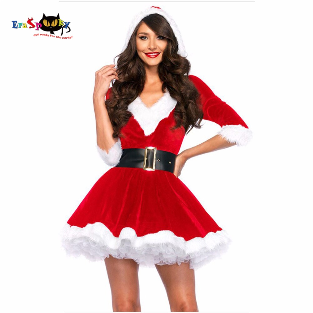 New Arrival Christmas Dress Women Christmas Costume For Adult 2017 Red Velvet Fur Dresses Hooded Sexy