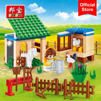 BanBao 8585 Pasture Ranch Horse Cock Countryside Bricks Educational Building Blocks Model Toys For Kids Children Gift