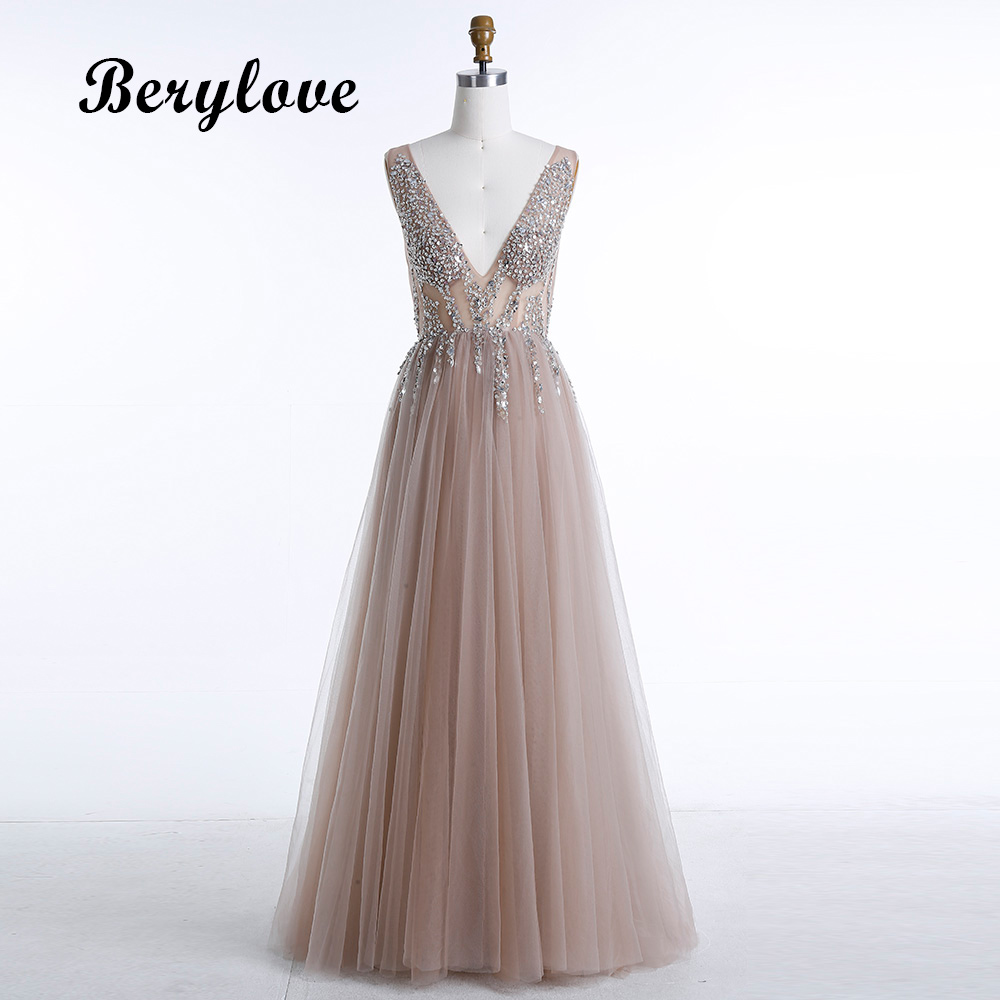Berylove Sexy Champagne Evening Dresses 2018 Beaded V Neck Backless