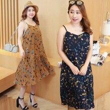 Vagary Plus Size Chiffon Cami Dress Women Floral Print Sexy V Neck Pleated Hem Summer Dresses Fashion Sleeveless Beach Dress