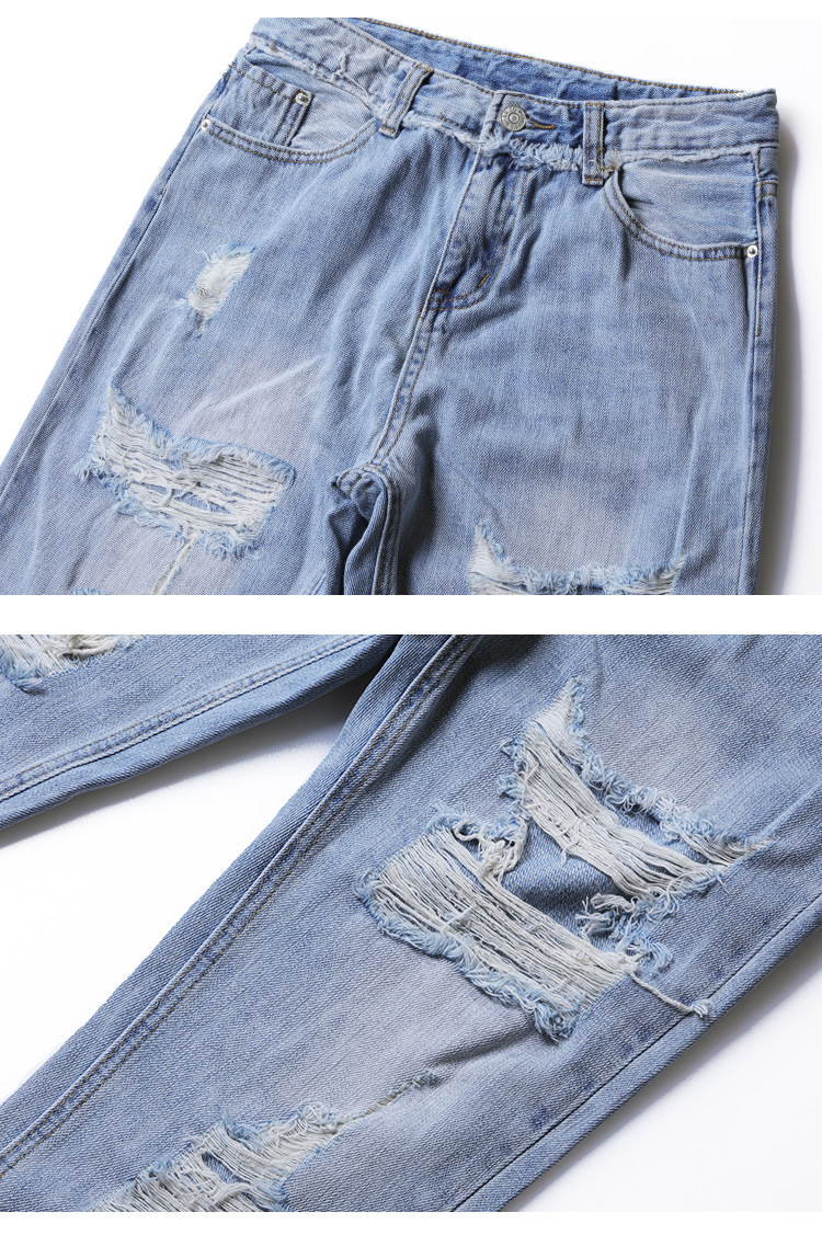 Blue Loose Vintage High Waist Ripped Jeans For Women 33