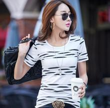 Summer fashion short sleeve t-shirt women cotton top tees o-neck striped patchwork female large clothes casual ladies t shirts