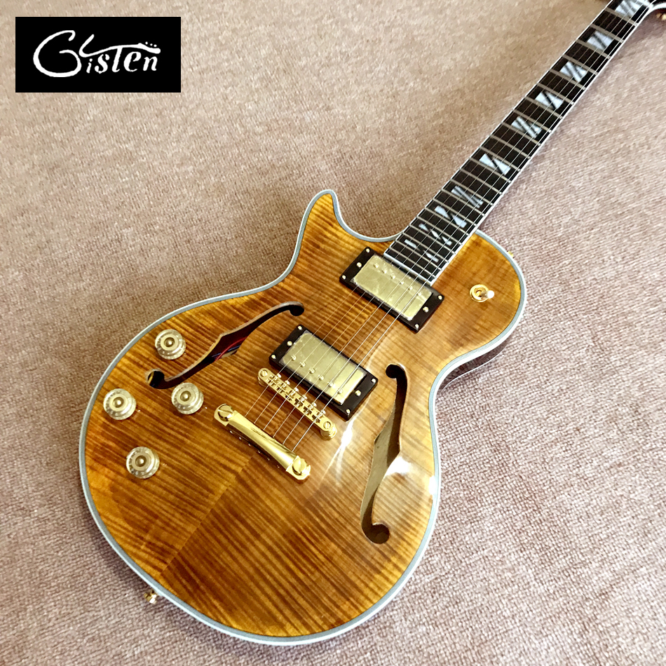 Gisten New high quality Custom LP left hand electric guitar, Ebony guitar, Flame Maple Top & Back, Double F hole, free shipping цена 2017