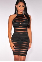 Sexy Sleeveless Above Knee Mini Striped Dress for Shemale & crossdressers