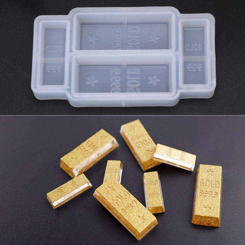 Silicone Mold DIY 3D Gold Bar Funny Birthday Cake Fondant Decoration Realistic Simulation Epoxy Resin Crafts Jewelry Making Tool