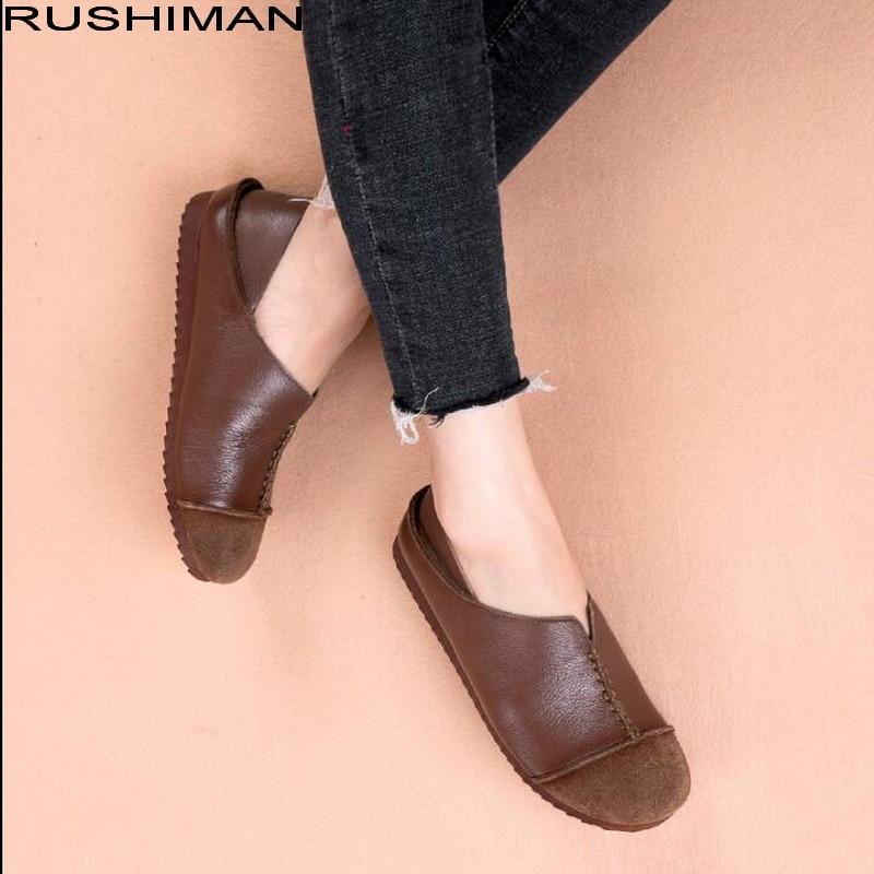 Chaussures En Confortable Femmes Rushiman Des Noir Occasionnels Cuir Ventilation marron Plat Mocassins Glissement Appartements De Véritable Sur Conduite HxRxAEqIw