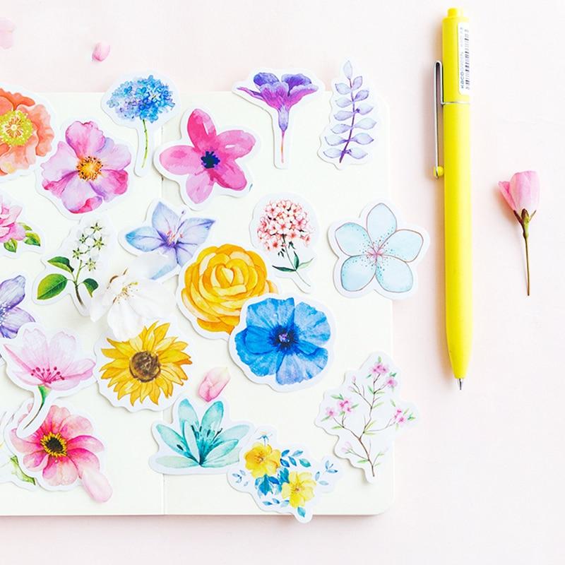 45Pcs Kawaii Journal Diary Decor Flower Stickers Scrapbooking Stationery Supply