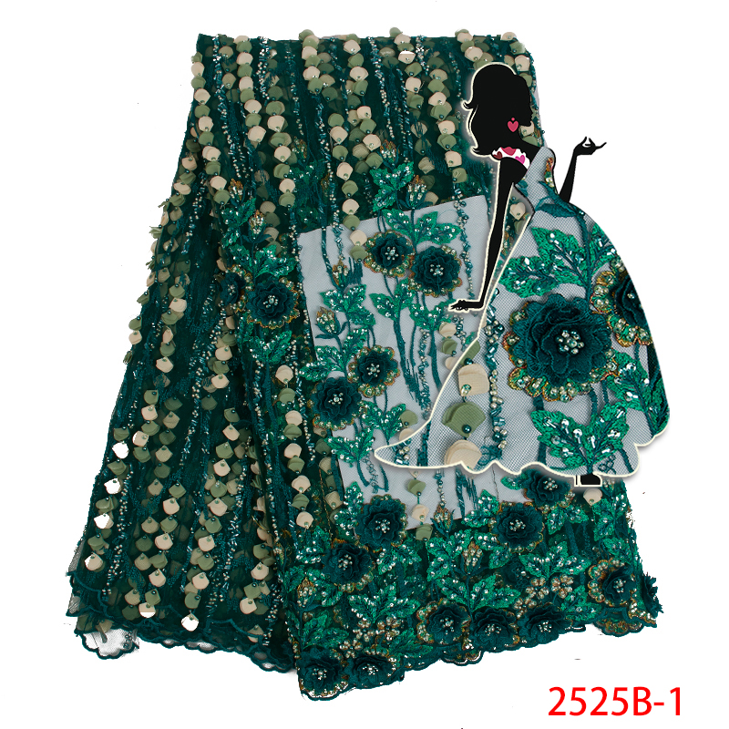African Lace Fabric 2019 High Quality Lace 3d Flowers Tulle Lace Fabric Nigerian Handmade Beads Tulle Lace Fabric AMY2525B 1