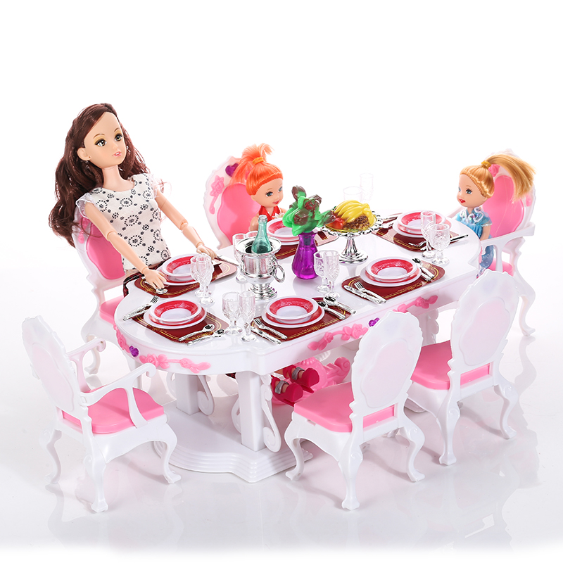 Miniature Furnishings Luxurious White Eating Desk for eight Individual and for Barbie Doll Home Faux Play Toys for Woman Free Delivery