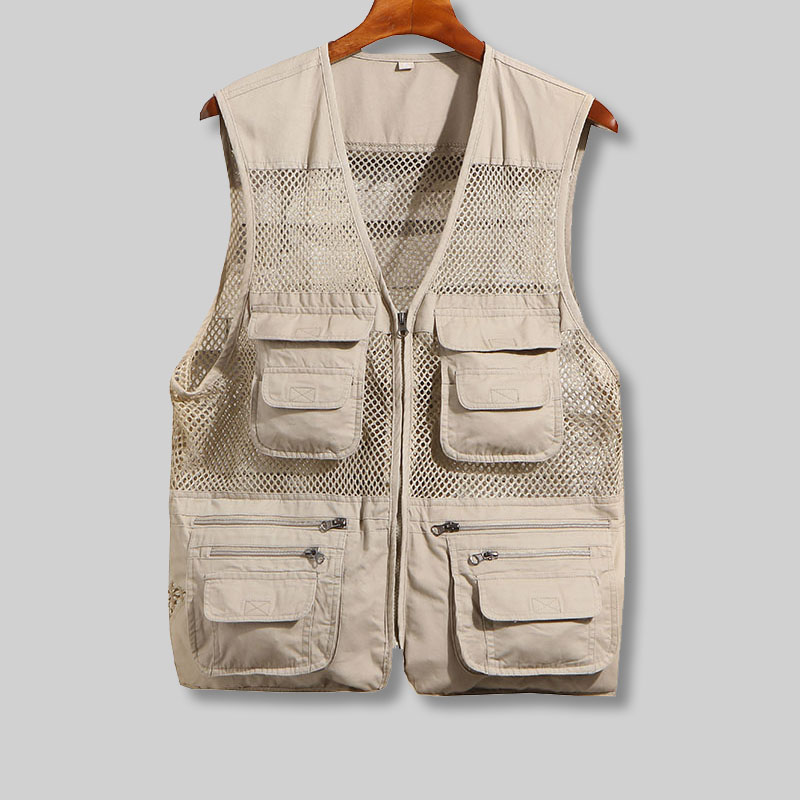 Vests Men With Many Pockets Thin Mesh Unloading Biker Vest Men Casual Summer Mesh Casual Multi Vest Shoulder Sleeveless Jacket