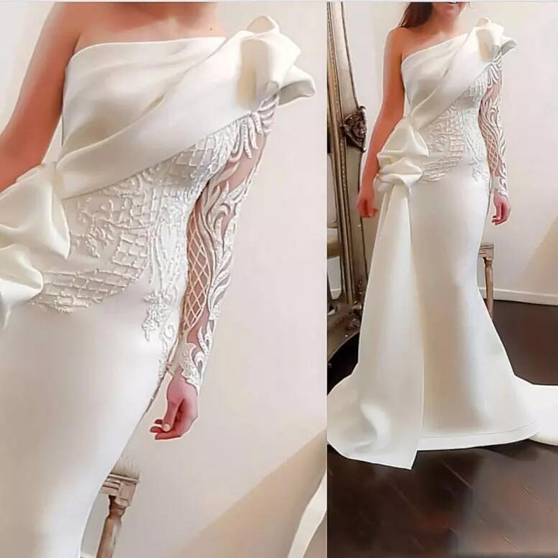 2019 Off White Mermaid   Prom     Dresses   One Shoulder Lace Applique Ruffles Sweep Train Elegant Formal Evening   Dress   Party Gown