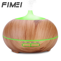 FIMEI New Fashion 300ml Ultrasonic Air Humidifier Wood Grain Aroma Essential Oil Diffuser Night Light Umidificador