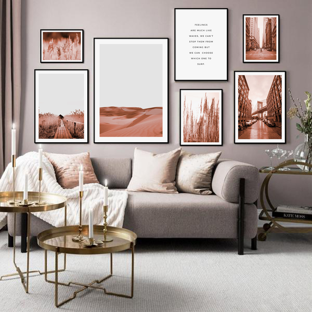 Flower Wheat  Desert City Street Quotes Wall Art Canvas Painting Nordic Posters and Prints Pictures for Living Room Decor
