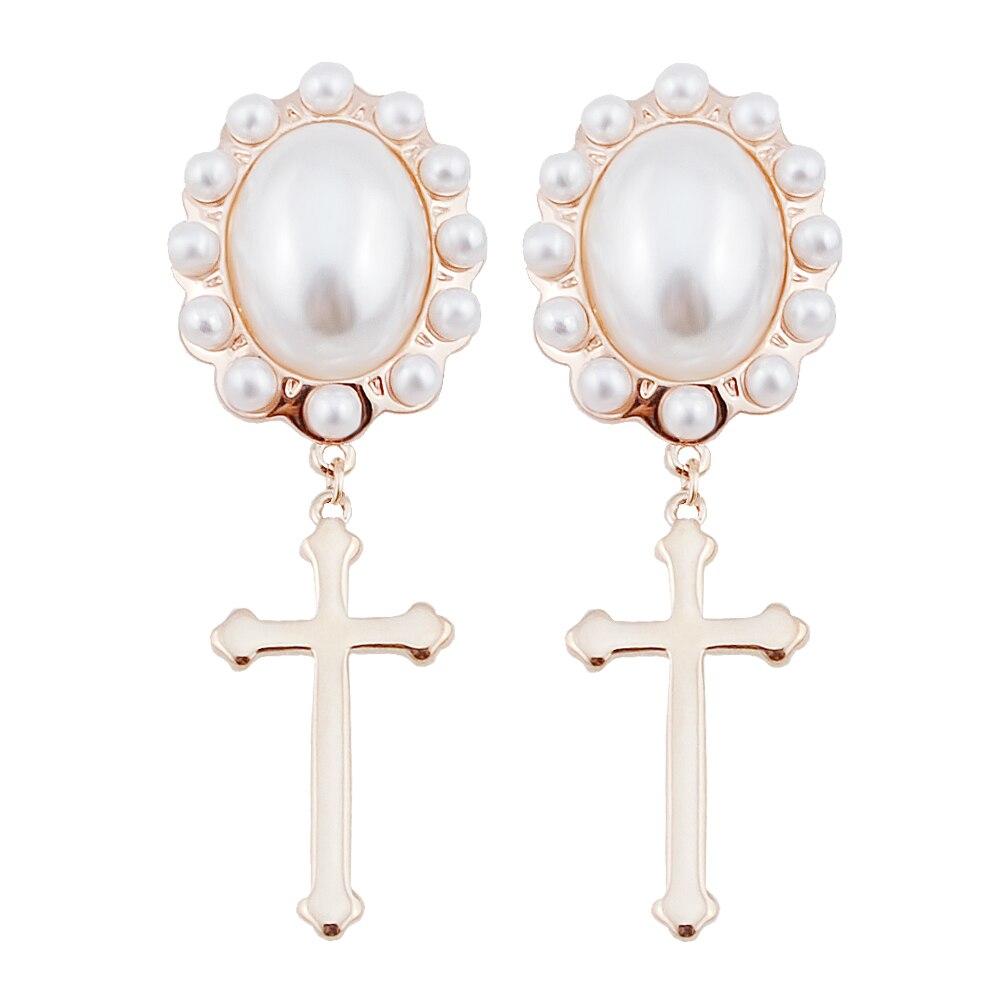 E014 Pearl Cross Earrings Women Gold Color Drop Earrings 2017 Latest  Designs Dangle Earrings Birthday Gift