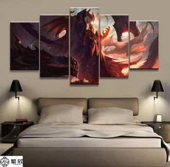 5 Panel LOL League of Legends Swain Game Canvas Printed Painting For Living Room Wall Art Decor HD Picture Artworks Poster