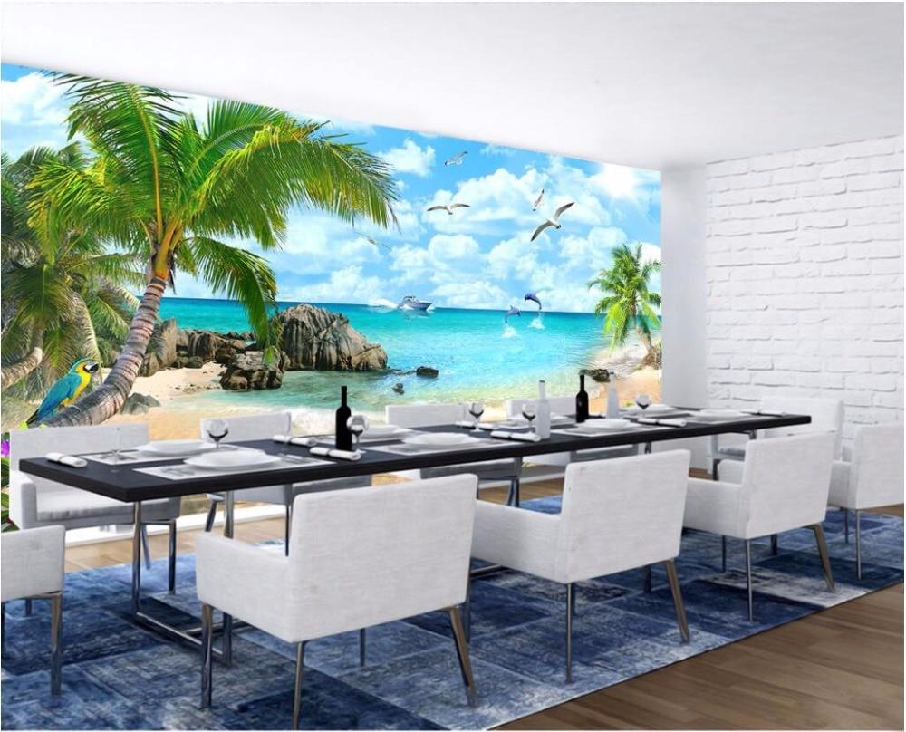 Custom 3 D Photo Wallpaper Wall Murals 3d Wallpaper Beach: Custom Mural Photo 3d Room Wallpaper Dolphin Coconut Trees