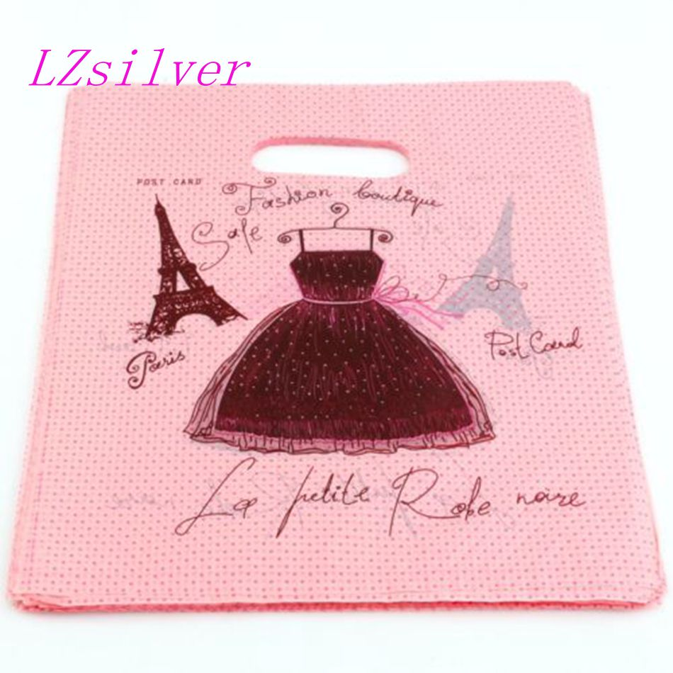 Jewelry Bags. 100pcs Skirt Eiffel Tower Plastic Bag Jewelry Gift Bag 20x25cm L01