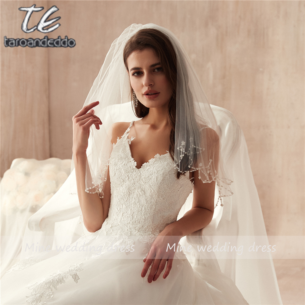 Blanco/Marfil corto abalorios de cristal de perlas codo longitud velo de novia boda velos, velo de tul suave con peine