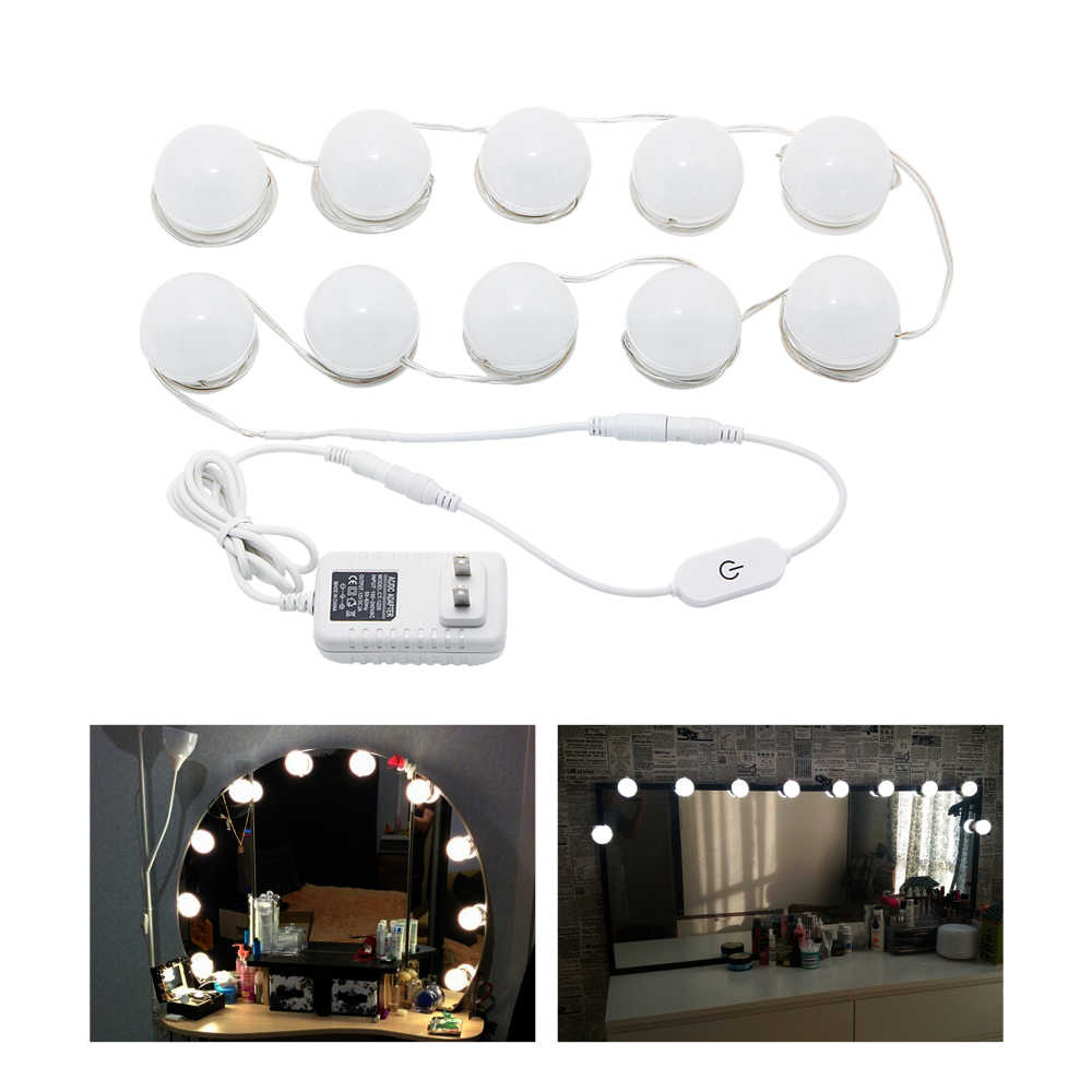 10W LED Vanity Mirror Makeup Light Bulb Waterproof Wall Sconce Hollywood Lamp 4000K for Bathroom Table with Dimmer Touch Control