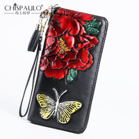 Genuine Leather Women Wallet multi function Vintage Long Purse Card Holder peony flower Fashion Clutch Chinese Style Women Bags