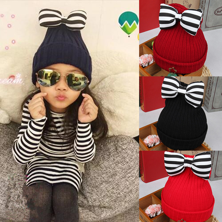 2017 Baby Hat Beanie Striped Bowknot Cap Infant Boys Girls Crocheted Cap Kids Bows Knit Hat Accessories Gorros