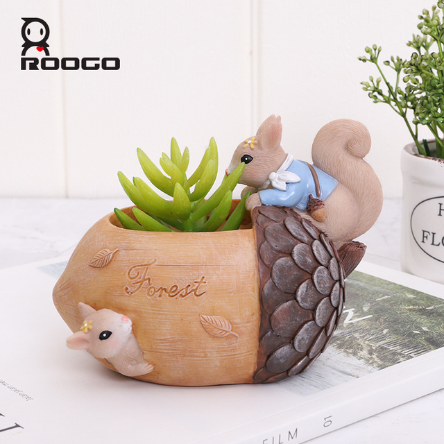 Roogo Nuts House Plant Pot Resin Pots For Flowers Small Succulents Planter Cute Animal Bonsai Pot For Home Garden Decoration