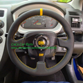 13 Inch Flat OMP Steering Wheel Play Steering Wheel With Yellow Strip Leather Car Steering Wheel 330mm Game Steering Wheel
