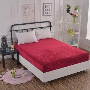 Винно-красный матрас, мягкая удобная простыня, весенне-осенняя натяжная простыня, постельное белье, однотонное покрывало с эластичной лент...