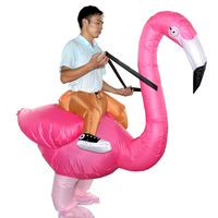 Flamingo Inflatable Costume Rider Cosplay Halloween Airblown Dress Suit Rose Pink For Adult And Child kids