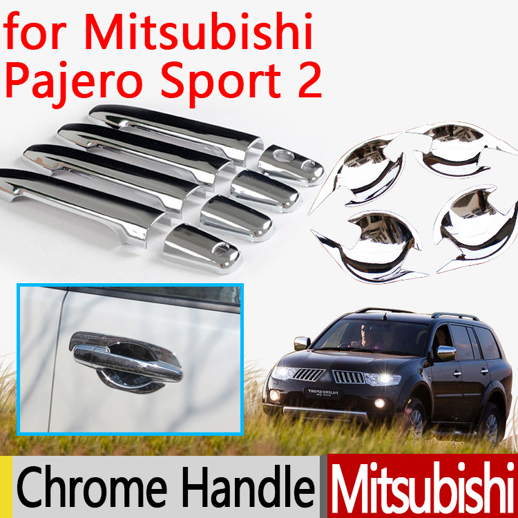 for Mitsubishi Pajero Sport 2 2008-2015 Chrome Door Handle Cover Accessories 2011 2012 2013 2014 2015 Car Sticker Car Styling