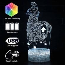 Fortress night 7 สีเปลี่ยนตารางโคมไฟ USB battle royale Led Action Figure Alpaca light up ของเล่น