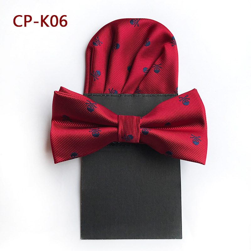 Men's Polyester Red Silk Bow Tie Skull Bowtie Pocket Square For Tuxedo Shirt Banquet Bowknot